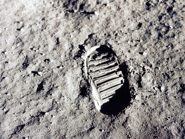 Apollo 11 Aldrin's bootprint on the Lunar Surface