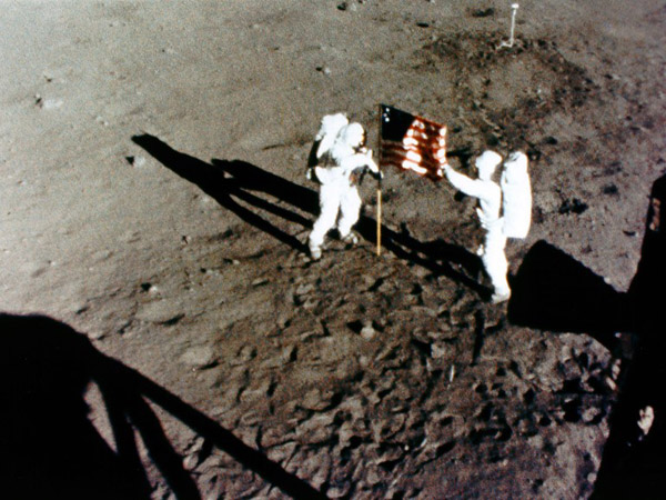 Apollo 11 Armstrong and Aldrin erect the Stars and Stripes