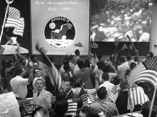 Apollo 11 Mission control celebrate the successful  return of the Apollo 11 Crew