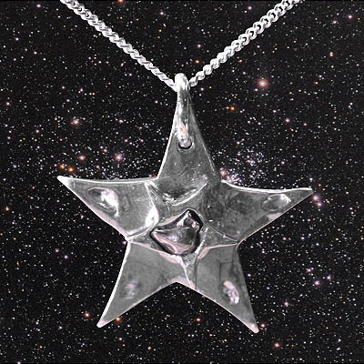 Meteorite jewellery on silver chains large silver star meteorite necklace 99 aloadofball Images