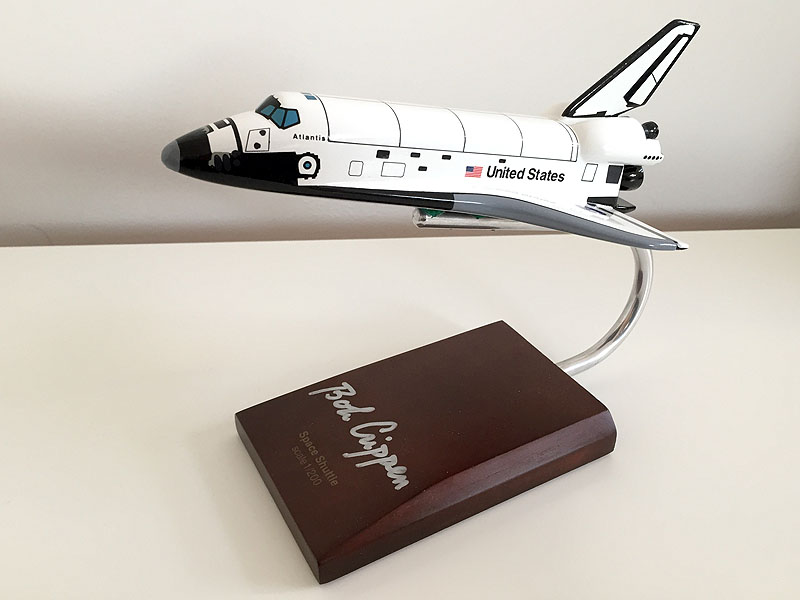 Space shuttle atlantis model scale 1 200 signed by bob crippen - Small space shuttle model ...