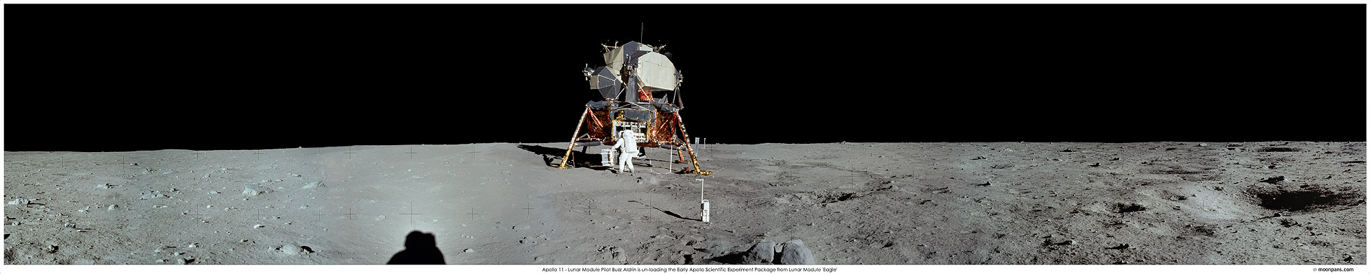Apollo 11 Photos EASEP panorama Photo: moonpans.com/prints/40_A11easep.htm