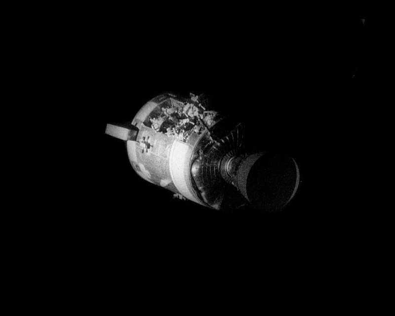 This was the first time that the Apollo 13 saw the damage caused by the ...